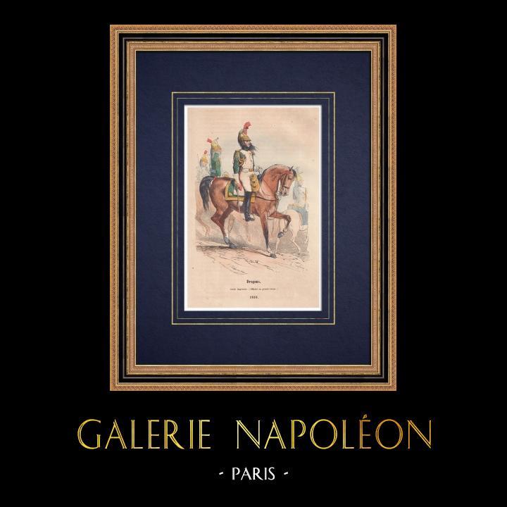 Gravures Anciennes & Dessins | Dragons de la Garde Impériale - Cavalerie - Napoléon Ier (1810) | Gravure sur bois | 1850