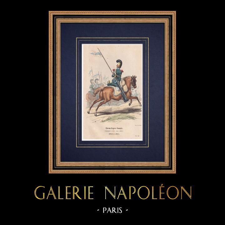 Gravures Anciennes & Dessins   Chevau-Légers français - Cavalerie (1812-1815)   Gravure sur bois   1850