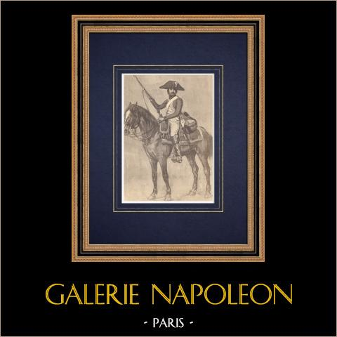 Régiment Royal-Picardie - Cavalry - Military Uniform (1795) | Original heliogravure. Anonymous. 1850