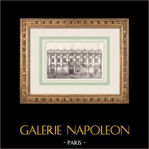 Hôtel de Pierre Delfau - Style gothique - Toulouse (France) | Lithographie originale dessinée par Perrin, lithographiée par Constantin. 1842