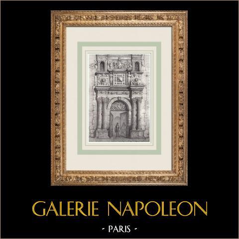 Hotel Catelan - Tolosa - Toulouse (França) | Litografia original desenhada por Perrin, litografada por Constantin. 1842
