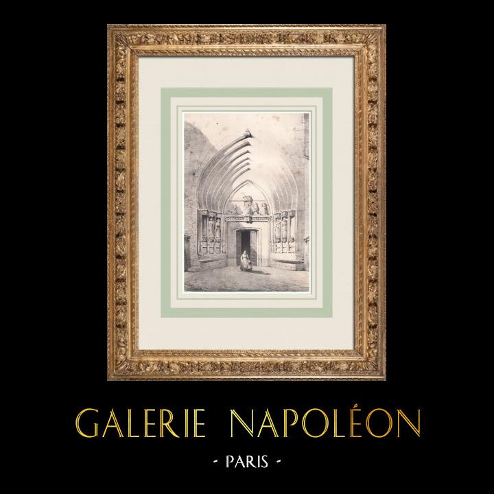 Gravures Anciennes & Dessins | Portail de l'Église Saint-Nicolas - Toulouse (France) | Lithographie | 1842
