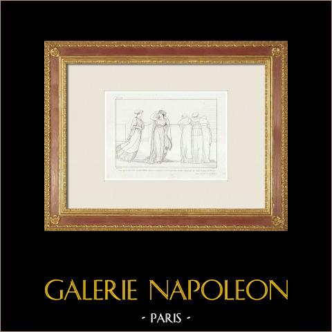 Iliade - Homère - Vénus annonce à Hélène l'arrivée de Pâris | Gravure originale en taille-douce sur acier gravée par Réveil d'après Flaxman. 1833