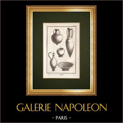 Jarrones | Grabado original en talla dulce sobre cobre grabado por Varin. 1773