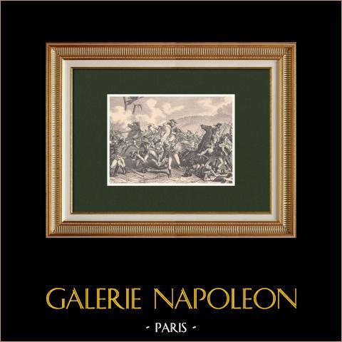 Bataille de Canope - Alexandrie - Campagne d'Égypte (21 mars 1801) | Gravure sur bois originale dessinée par Philippoteaux, gravée par Dupré. 1870