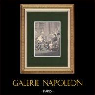 Négociations du Concordat de 1801 à la Malmaison (France) | Gravure sur bois originale dessinée par Philippoteaux, gravée par Bure. 1870