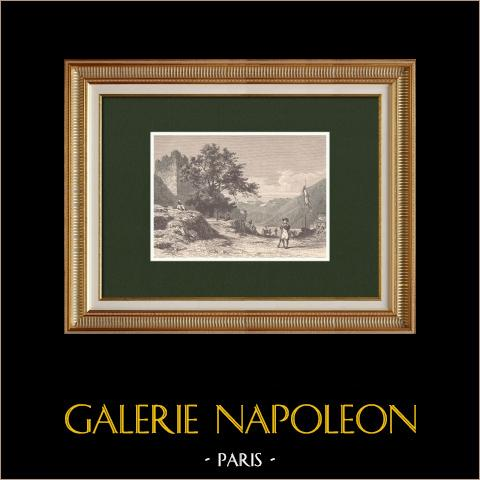 Puerto del Simplon - Alpes - Napoleon Bonaparte - Cantón del Valais (Suiza) | Grabado xilográfico original grabado por Sargent según Girardet. 1870