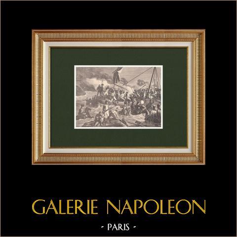 Combat sur la Plage de Boulogne - Grande Armée - Napoléon | Gravure sur bois originale dessinée par Bayalos. 1870
