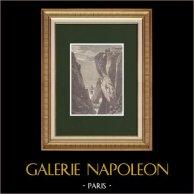 Débarquement de Georges Cadoudal à la falaise de Biville (21 Juillet 1804) | Gravure sur bois originale dessinée par Girardet, gravée par Sargent. 1870