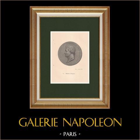 Medallón de Napoleón, Emperador de los Franceses (Antoine Bovy) | Grabado xilográfico original dibujado por Pannemaker. 1870