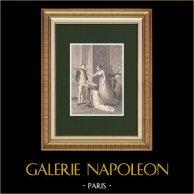 Napoléon Ier accordant à Madame de Polignac la grâce de son époux (1804) | Gravure sur bois originale dessinée par Philippoteaux, gravée par Roteuin. 1870