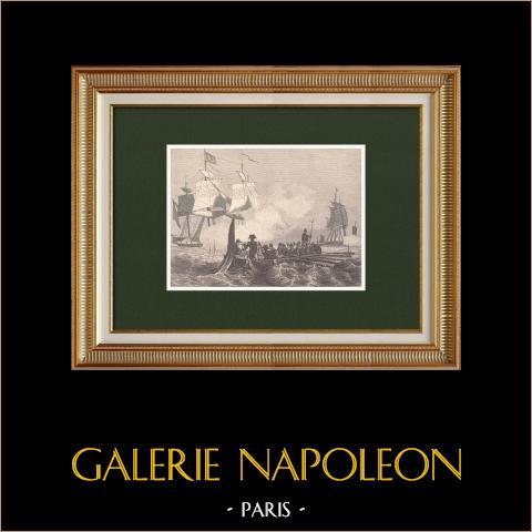 Napoléon essuyant le feu d'une frégate anglaise - Boulogne | Gravure sur bois originale dessinée par Girardet, gravée par Deschamps. 1870