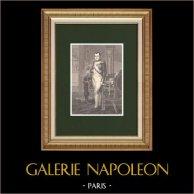 Napoleón en su gabinete de trabajo (Jacques Louis David 1812) | Grabado xilográfico original dibujado por Philippoteaux según Jacques Louis David. 1870