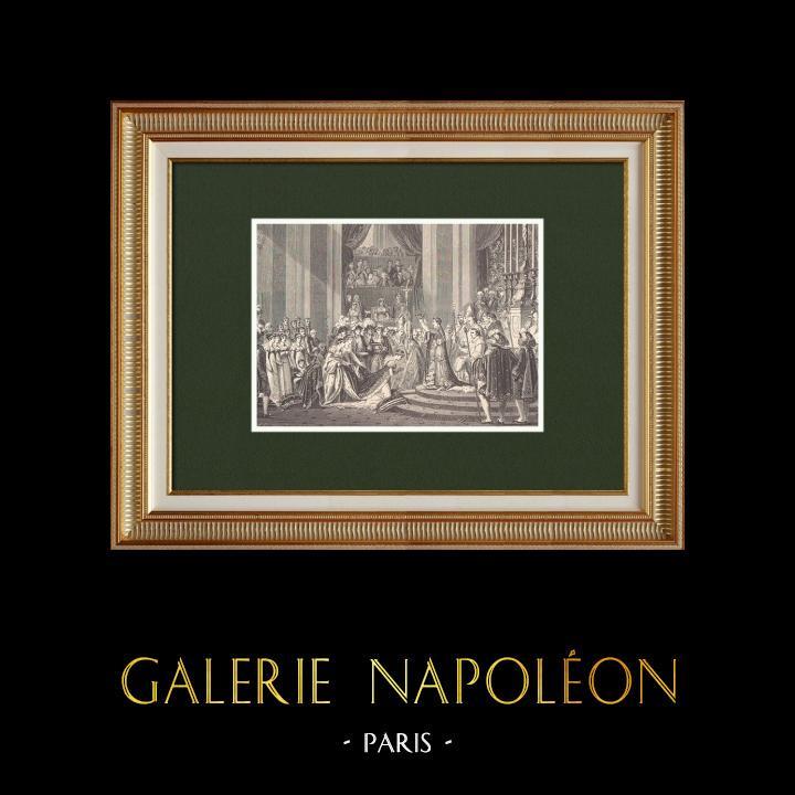 Gravures Anciennes & Dessins   Le Sacre de Napoléon - 2 Décembre 1804 (Jacques-Louis David)   Gravure sur bois   1870