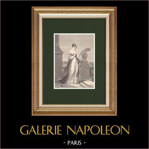 Princesa Paulina Borghèse, Hermana de Napoleón Bonaparte (1780-1825) | Grabado xilográfico original dibujado por Girardet, grabado por Chapon. 1870