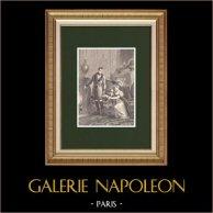 Misericordia de Napoleón a la Princesa de Hatzfeldt (1806) | Grabado xilográfico original dibujado por Philippoteaux, grabado por Chapon. 1870