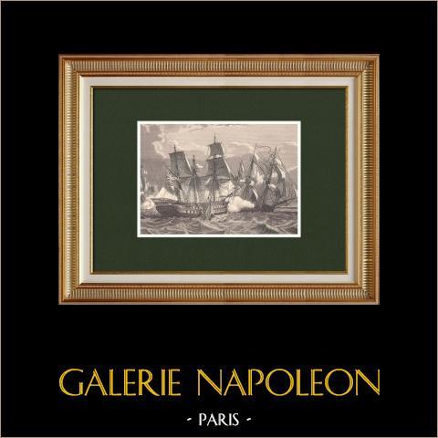 Frégate française La Canonnière vs vaisseau anglais Tremendous - Combat naval (21 Avril 1806) | Gravure sur bois originale dessinée par Philippoteaux, gravée par Sargent. 1870