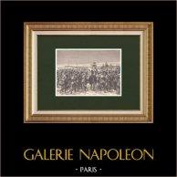 Napoléon harangue les troupes du Maréchal de Marmont - Bataille de Paris (Mars 1814) | Gravure sur bois originale dessinée par Philippoteaux, gravée par Dupré. 1870