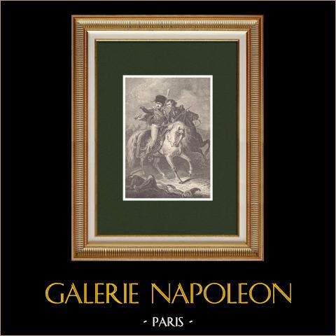 Retrato a caballo de Eugène de Beauharnais - Hijo adoptivo de Napoleón (1781-1824) | Grabado xilográfico original dibujado por Rousseau, grabado por Chapon. 1870