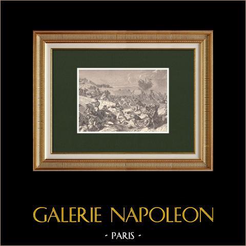 Schlachtvon Cabezon - Französische Kavallerie - Brücke (1808) | Original holzstich gezeichnet von Philippoteaux, gestochen von Hurel. 1870