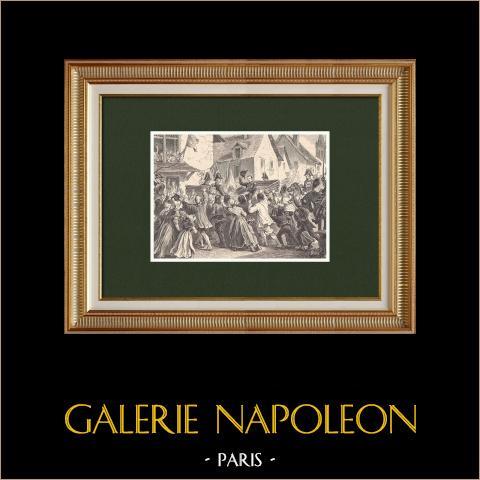 Il viaggio di Napoleone in Vandea (1808) | Incisione xilografica originale disegnata da Philippoteaux. 1870