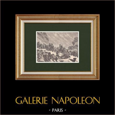 Napoleon klettert auf das Guadarrama (1808) | Original holzstich gezeichnet von Philippoteaux, gestochen von Sargent. 1870