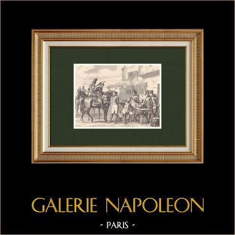 Napoleonischer Soldat - Dragoner - Spanischer Unabhängigkeitskrieg (1808) | Original holzstich gezeichnet von Philippoteaux, gestochen von Dupré. 1870