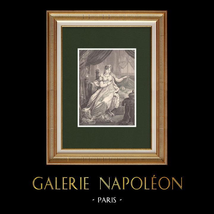 Gravures Anciennes & Dessins | Portrait de l'Impératrice Marie-Louise d'Autriche - Epouse de Napoléon (1791-1847) | Gravure sur bois | 1870