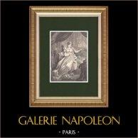 Portrait de l'Impératrice Marie-Louise d'Autriche - Epouse de Napoléon (1791-1847)   Gravure sur bois originale dessinée par Rousseau, gravée par Chapon. 1870