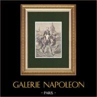 Retrato de Jean Rapp (1771-1821)  | Grabado xilográfico original dibujado por Philippoteaux, grabado por Lacoste. 1870
