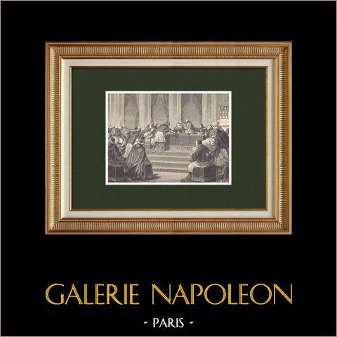 Concile de Paris - Napoléon Ier - Pape Pie VII (10 Juillet 1811) | Gravure sur bois originale dessinée par Philippoteaux, gravée par Pontenier. 1870