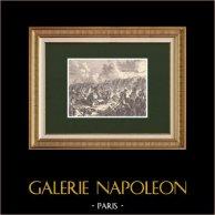 Bataille de Valoutina-Gora - Campagne de Russie - Mort du général Gudin (19 Août 1812) | Gravure sur bois originale dessinée par Philippoteaux, gravée par Barbant. 1870