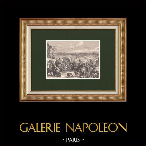 Retirada de Napoleão de Moscovo - Grande Exército - Napoleão I (1812) | Xilogravura original desenhada por Philippoteaux, gravada por Dupré. 1870