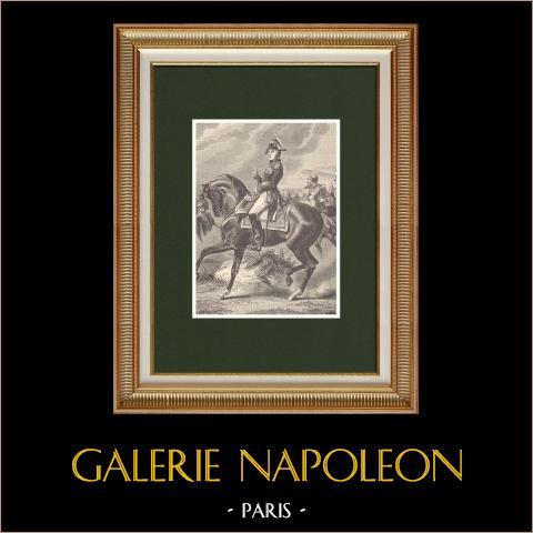 Portrait du général Étienne Marie Antoine Champion de Nansouty (1768-1815) | Gravure sur bois originale dessinée par Philippoteaux, gravée par Dupré. 1870