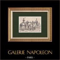 Napoleonisk soldat - Ridande artilleri - Imperial Gardet - Första Kejsardömet | Original träsnitt efter teckning av Philippoteaux, graverade av Dupré. 1870