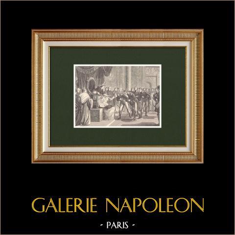 Audience donnée par Pie VII à des officiers de Marine français | Gravure sur bois originale dessinée par Philippoteaux, gravée par Dupré. 1870