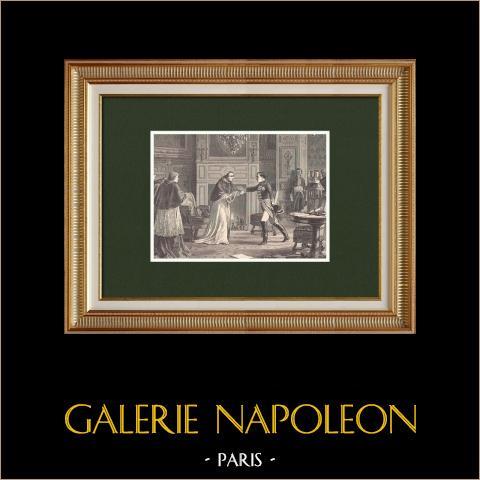 Napoleon Odwiedzający Piusa VII w Fontainebleau - Francja |