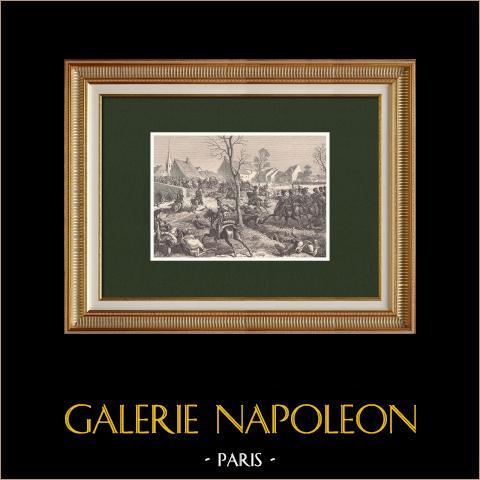 Combat de Berry-au-Bac - Campagne de France - Napoléon Ier - Pac - Nansouty (5 mars 1814) | Gravure sur bois originale dessinée par Philippoteaux, gravée par Deschamps. 1870