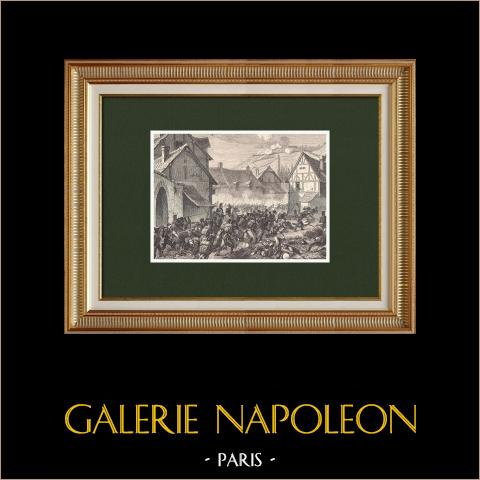 Battaglia di Laon - Napoleone I - Esercito Prussiano - Campagna di Francia (1814) | Incisione xilografica originale incisa da Pontenier. 1870