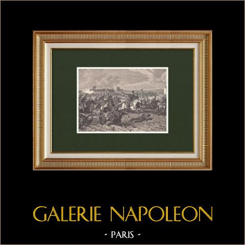 La Guardia d'Onore nel combattimento di Reims - Napoleone (1814) | Incisione xilografica originale disegnata da Philippoteaux, incisa da Hurel. 1870