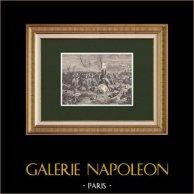 Héroïsme des Gardes Nationaux - Campagne de France (1814) | Gravure sur bois originale dessinée par Philippoteaux, gravée par Horcholle. 1870
