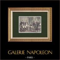 Lecture en présence de Napoléon d'une lettre de Beurnonville à MacDonald (Avril 1814)    Gravure sur bois originale dessinée par Philippoteaux, gravée par Meaulle. 1870