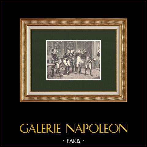 Napoleone annuncia la sua abdicazione ai marescialli (1814) | Incisione xilografica originale disegnata da Philippoteaux, incisa da Barbant. 1870