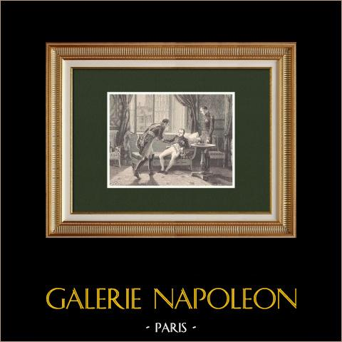 Abschied von Marschall Macdonald - Abdikation Napoleons (1814) | Original holzstich gezeichnet von Philippoteaux, gestochen von Dumont. 1870