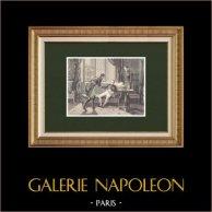 Adieux du Maréchal Macdonald - Abdication de Napoléon (Avril 1814)   Gravure sur bois originale dessinée par Philippoteaux, gravée par Dumont. 1870