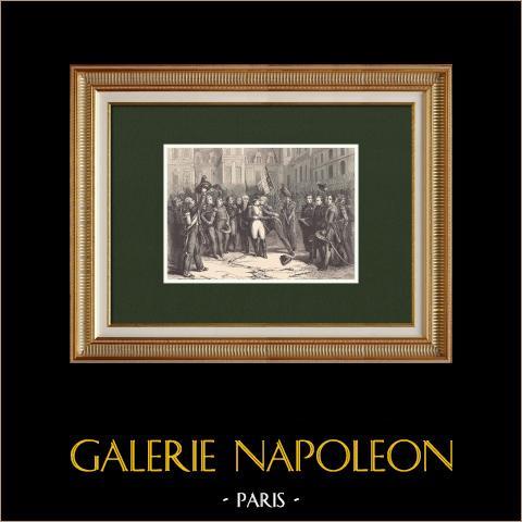 Napoleons Abschied zur der Kaiserlichen Garde - Fontainebleau (1814) | Original holzstich gezeichnet von Girardet, gestochen von Chapon. 1870