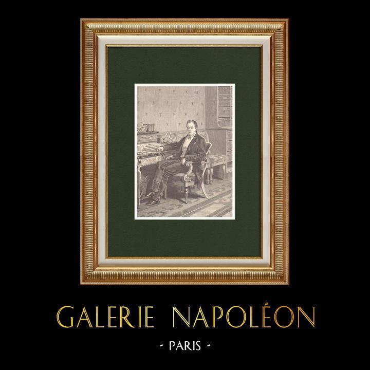 Gravures Anciennes & Dessins | Portrait de Pierre-Paul Royer-Collard (1763-1845) | Gravure sur bois | 1870