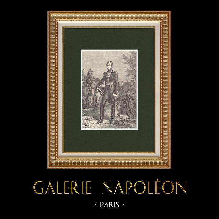 Gravures Anciennes & Dessins   Portrait du Maréchal Exelmans - Maréchal de France (1775-1852)   Gravure sur bois   1870