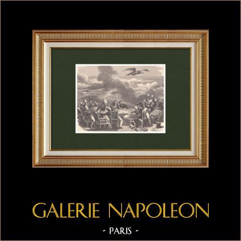 Wien - Kongress erfährt von Napoleons Landung in Golfe Juan (März 1815) | Original holzstich gezeichnet von Philippoteaux, gestochen von Meaulle. 1870