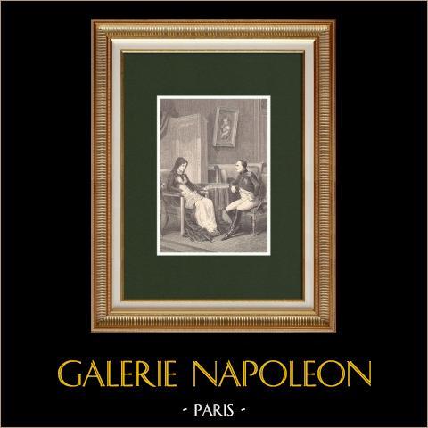 Napoleone rivela alla madre la sua imminente partenza dall'Isola d'Elba (1815) | Incisione xilografica originale disegnata da Philippoteaux, incisa da Charles. 1870